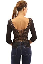 PattyBoutik Women's Lace Up Back Long Sleeve Blouse Top