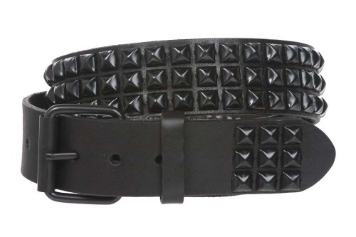Three Row of Punck Rock Star Metal Black Studded Leather Belt Size: 36""