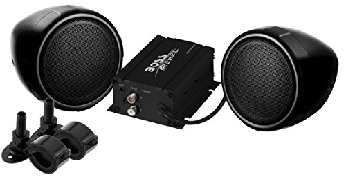 BOSS-AUDIO-MCBK400-Black-600-watt-MotorcycleATV-Sound-System-with-One-Pair-of-3-inch-Weather-Proof-Speakers-Aux-Input-and-Volume-Control