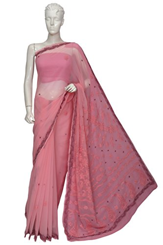 ADA-Lucknow-Chikankari-Hand-Embroidered-Designer-Ethnic-Georgette-Saree-With-Blouse-A109984