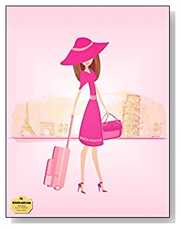 Europe In Pink Notebook - Travel, shopping and Europe go hand-in-hand. Stylish traveler against a backdrop of Europe's favorite cities graces the all pink cover of this wide ruled notebook.