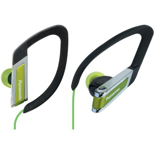 Panasonic RP-HS200-G In-Ear Water-Resistant Sport-Clip Earbud Heaphones with Clear Sound Cord Management (Green)