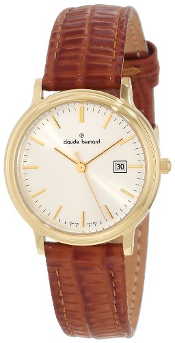 Claude Bernard Women's 31211 37J AID Classic Ladies Gold PVD Silver Dial Leather Date Watch