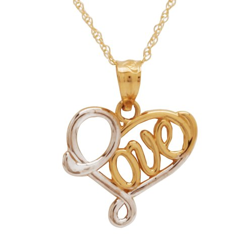 "Duragold 14k Two-Tone Gold ""Love"" Heart Pendant, 18"""