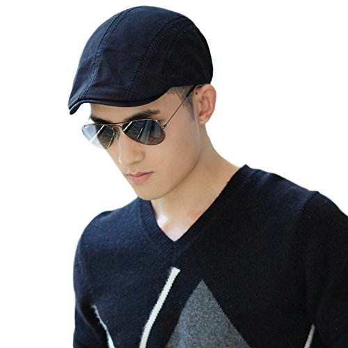 Siggi Men's 100% Cotton Newsboy Driving Duckbill Ivy Cap Irish Cabbie Hat Black (British Khaki Mens Sweaters compare prices)