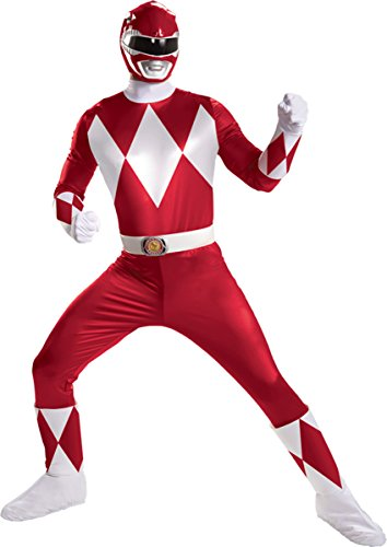 Morris Costumes Men's RED RANGER SUPER DELUXE ADULT, Red/white, 50-52