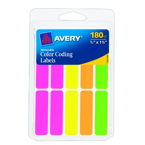 Avery Rectangular Color Coding Labels, 0.5 x 1.75 Inches, Assorted, Removable, Pack of 180  (6724)