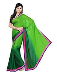 Rani Saahiba Satin Chiffon Velvet Border Shaded Saree