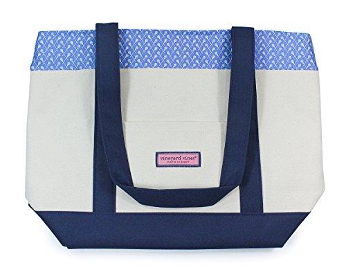 Vineyard Vines Lacrosse Blue Navy Beige Canvas Carryall Tote Bag Purse