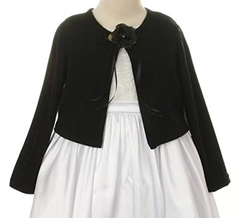 Plain Cardigan Sweater Long Sleeves Match Flowers Girls Dresses Winter Wedding Black 2-12 front-997204