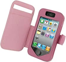 buy Monaco Book Type Pink Leather Cover Case W/Detachable Belt Clip For At&T /Sprint / Verizon/ T-Mobile Apple Iphone 4G /4Gs