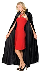 Long Black Velour Collar Cloak. Unisex.