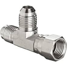 "Brennan 6602-06-06-06-SS, Stainless Steel JIC Tube Fitting, 06MJ-06FJS-06MJ Tee, 3/8"" Tube OD"