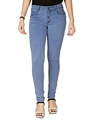 Womens High Rise Stretchable Mid Blue Jeans (30)