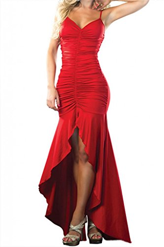 Shmimy Women Sexy Cocktail Dress Red Folds Spaghetti Straps Prom Long Dress