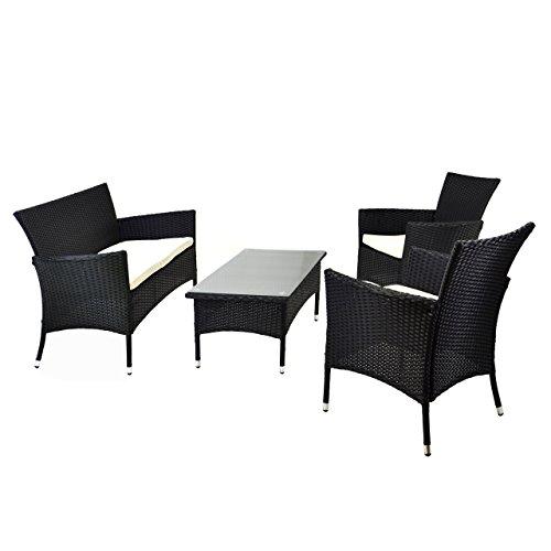 Nexos Rattan Set 4tlg mit Glastisch weiß Garnitur Sitzgruppe Gartenmöbel Poly-Rattan