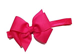 BELLAZAARA Baby Girl Boutique Fushia Pink Satin Ribbon Bow Headband