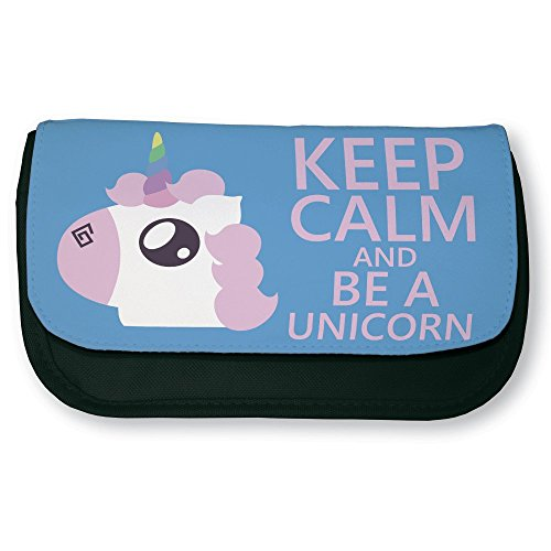 Trousse-noire-de-maquillage-ou-dcole-Keep-calm-and-be-a-unicorn-Licorne-chibi-et-kawaii-by-Fluffy-chamalow-Fabriqu-en-France-Chamalow-shop