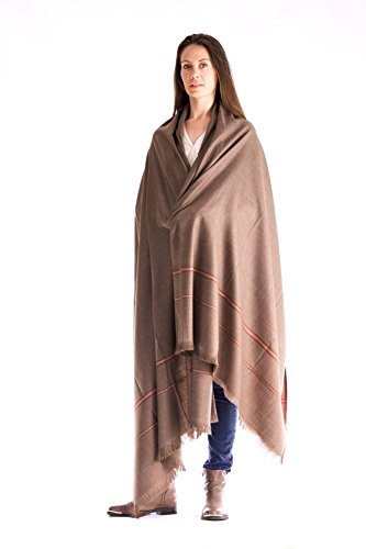 Prayer Shawl, Wool Wrap or Meditation Blanket for Men and Women, Unique Gift, Unisex, Dark Brown (Extra Large 96