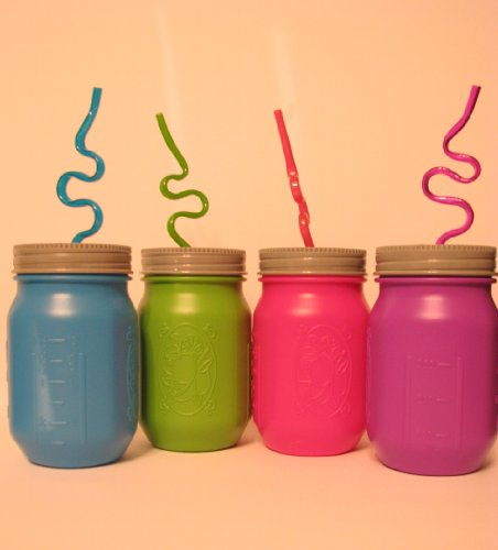 Set of Four Plastic Mason Jar Cups with Free Crazy Straws (4 Plastic Mason Jars with Silly Loop Straws)