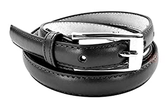 "New Classy Womens Skinny Leather Belt with Shiny Buckle Many Colors S-XL (L (37""-41""), Black)"
