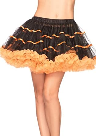Leg Avenue Women's Layered Striped Petticoat, Black/Orange, One Size