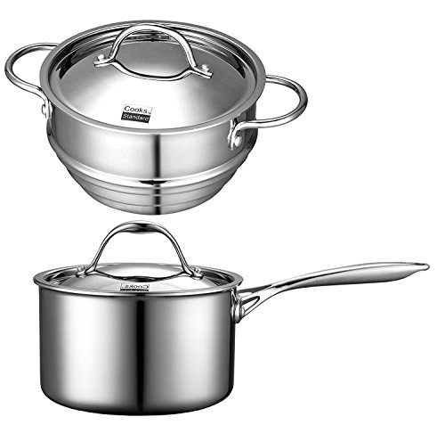 Cooks Standard Multi-Ply Clad Stainless steel 3QT Sauce Pan and 8-inch Steamer with Lid Set (Cook Standard Steamer compare prices)