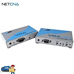 VGA-AUDIO-141 VGA Video & Audio Serial Extender, Sender With Receiver - Transfers Signals Over Network Cables and Free 6 Feet Netcna HDMI Cable - By NETCNA