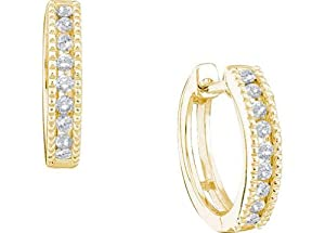 10k Yellow Gold Round Natural Channel-set Diamond Womens Ladies Small Simple Huggie Hoop Milgrain-accent Earrings - .25 (1/4) Ct.t.w.