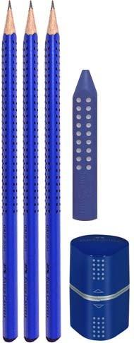 Faber Castell GRIP 2001 | Farbe & Zubehör wählbar | In [Petrol, Brombeer, Grün, Silber, Blau oder Schwarz] (Bleistift + Radierer+Anspitzer, Blau)