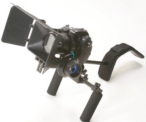 ePhotoInc DSLR Camera Shoulder Rig Movie Kit shoulder mount rig with Follow Focus and Matte Box for All DSLR Cameras and Video Camera Camcorders DSL-01 Rig