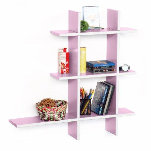 Trista - [Pale Pink-A] Leather Cross Type Shelf / Bookshelf / Floating Shelf (5 Pcs)