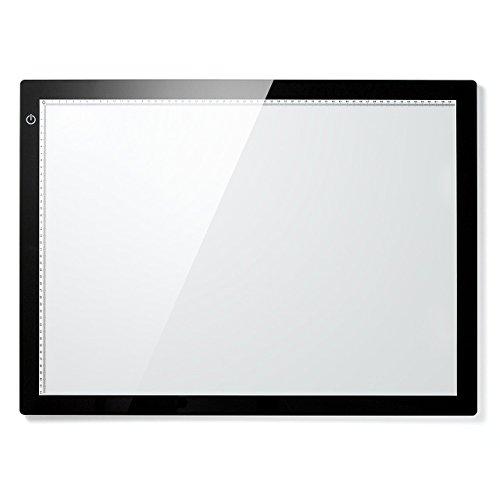 サンワダイレクト LEDトレース台 A2サイズ 薄型8.5mm 無断階調光機能付 ACアダプタ付き 400-TBL006
