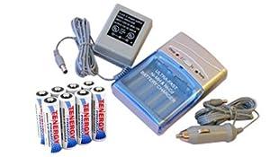 Combo: Tenergy T-1000 Smart AA/AAA NiMH/NiCd Battery Charger + 8 Premium AA 2500mAh NiMH Rechargeable Batteries