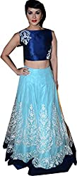 Royal Fashion LIGHT BLUE DESIGNER LEHENGS CHOLI MATERIAL.