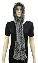 Hima Rex Rabbit Fur Scarf with Hood One Size -Black Frosted