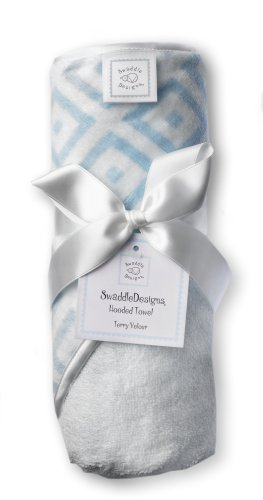 SwaddleDesigns Terry Velour Hoodie Towel - Very Light Blue with Pastel Blue Mod Squares