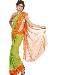 Exotic India Light-Green And Orange Bandhani Tie-Dye Sari From Gujarat W - Green