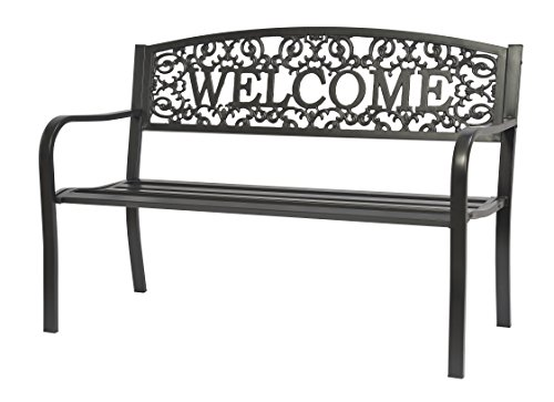 Black Coated Steel Welcome Garden Bench By Trademark Innovations Furniture Outdoor Furniture