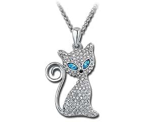 Ninabox blaue Damen/Mädchen Katze Halskette SWAROVSKI ELEMENTS Kristall Anhänger Modeschmuck Weiß vergoldet Legierung