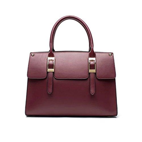 Fineplus Womens New Simple Split Cow Leather Shoulder Straps Handbag (Wine Red)