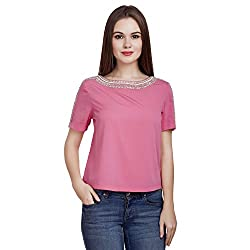 MansiCollections Casual Short Sleeve Embellished Women's Pink Top (X-Small)