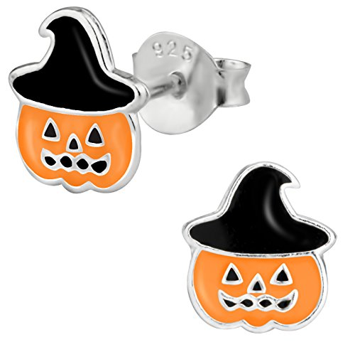 Sterling Silver Hypoallergenic Jack-O'-Lantern Stud Earrings for Girls