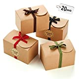 Hayley Cherie - Gift Treat Boxes with Ribbons and Thank You Stickers (20 Pack) - 6.5 x 4 x 4 inches - Thick 400gsm Card - for Goodies, Candy, Parties, Christmas, Birthdays, Weddings (Kraft) (Color: Kraft)