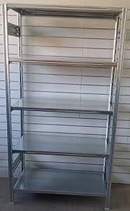 Scaffalatura metallica zincata ad incastro con 5 piani cm for Bloccare i piani di costruzione del garage