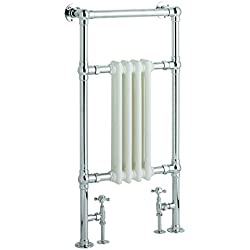 "Hudson Reed Chrome & White Traditional Hydronic Towel Warmer Radiator Rail Heated Rack - 18.3"" x 36.8"" - Angled Valves Included"