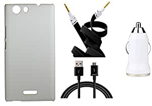 Toppings Hard Case Cover With Car Charger,Data Cable & Aux Cable For Micromax Canvas Nitro 2 E311 - White