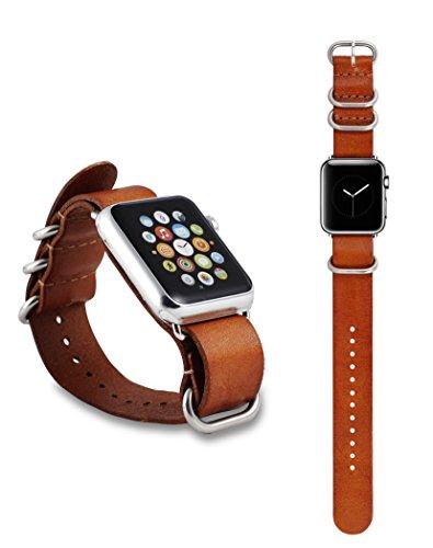 Apple Watch ECHT Rind Leder Armband mit Edelstahl Schlaufen Erstatzband Luxus Uhrenband Strap Genius 42 mm Basic / Sport / Edition - in Braun von OKCS
