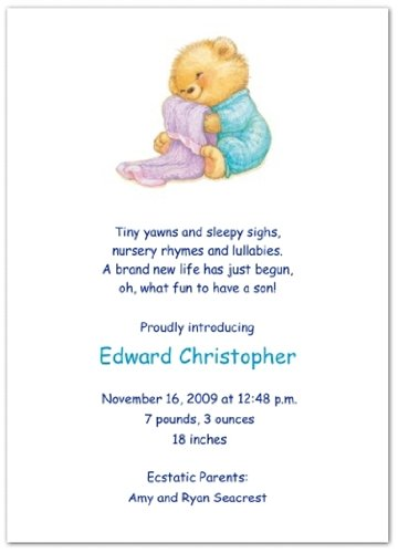 Soft & Cuddly with Blue PJs Birth Announcements - Set of 20