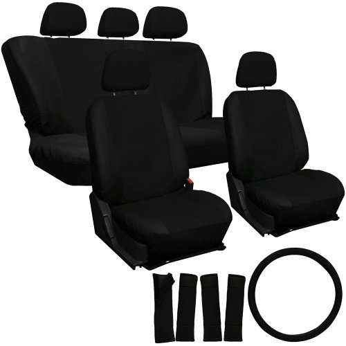 Oxgord 17Pc Leatherette Seat Cover Set, Airbag Compatible, For Subaru Outback, Black front-74225